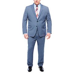 JF J. Ferrar Stretch End On End Blue Micro Texture Suit Separates- Big and  Tall