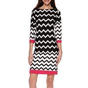 Tiana B. 3/4-Sleeve Chevron-Print Shift Dress - Tall