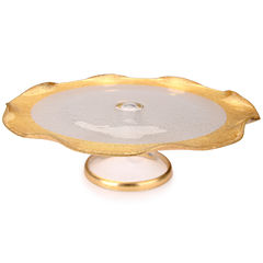 Footed Cake Stand with Gold Trim