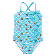 Pattern One Piece Swimsuit Toddler Girls