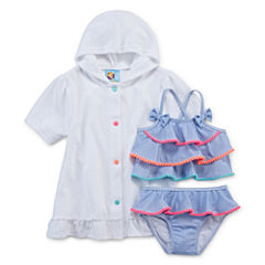 Baby Buns Pattern Tankini Set-Toddler With Cover-Up