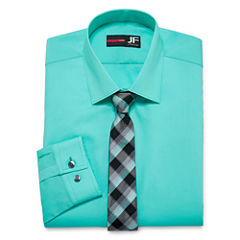 JF JFerrar Easy-Care Long Sleeve Dress Shirt and Tie Set