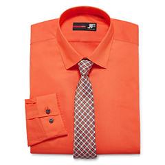JF JFerrar Easy-Care Long Sleeve Dress Shirt and Tie Set