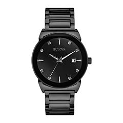 Bulova® Mens Black Ion Stainless Steel Diamond Accent Watch 98D121