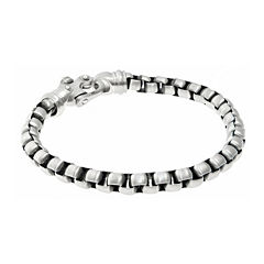 Mens Stainless Steel Round Box Chain Bracelet with Fancy Clasp
