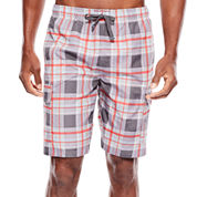 U.S. Polo Assn.® Plaid Cargo Swim Shorts