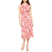 Perceptions Sleeveless Floral Fit and Flare Dress