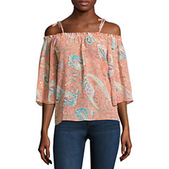 Buffalo Jeans Elbow Sleeve Boat Neck Chiffon Blouse