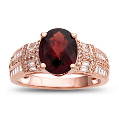 Womens Brown Garnet Gold Over Silver Cocktail Ring