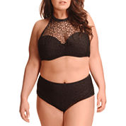 Paramour High Neck Mesh Halter or High Waist Bottom - Plus