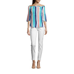 Worthington 3/4 Sleeve Off-Shoulder Pleat Blouse and Slim Fit Ankle Pant