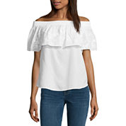a.n.a Embroidered Off The Shoulder Ruffle Blouse