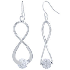 Sparkle Allure Clear Crystal Silver Over Brass Drop Earrings