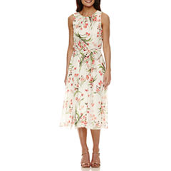 Jessica Howard Sleeveless Pleat Neck Floral Fit and Flare Dress