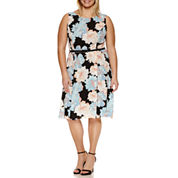 Ronni Nicole Sleeveless Floral Belted Fit & Flare Dress-Plus