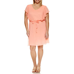 Alyx Short Sleeve Tie Waist Fit & Flare Dress-Plus