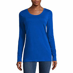 a.n.a Long Sleeve Scoop Neck T-Shirt-Talls