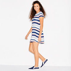 Arizona Short Sleeve Stripe Swing Dresses-Juniors