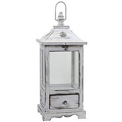 Distressed Wooden Lantern Decorative Lantern
