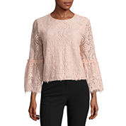 Worthington Long Bell Sleeve Lace Blouse