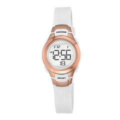Armitron® Womens White and Rose-Tone Digital Chronograph Sport Watch