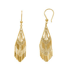 14K Yellow Gold Diamond-Cut Beaded Mesh Drop Earrings