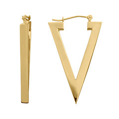 14K Yellow Gold Polished Triangle Hoop Earrings