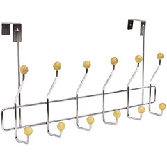 Home Basics 6-Hook Chrome Over-the-Door Hanging Rack