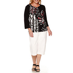 Alfred Dunner® Port Antonio 3/4-Sleeve Biadere Top or Pull-On Capris - Plus
