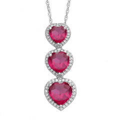 Lab-Created Ruby & White Sapphire Sterling Silver Triple Heart Pendant Necklace
