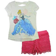 Disney by Okie Dokie 2-pc. Cinderella Short Set Girls