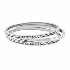 nicole by Nicole Miller® Crystal and Silver-Tone Bangle Bracelet