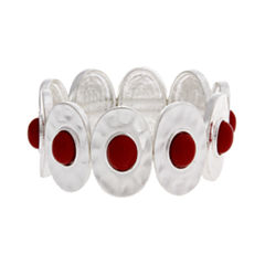 Mixit™ Silver-Tone Red Bead Oval Disc Stretch Bracelet