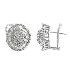 2 CT. T.W. Baguette White Diamond 14K Gold Stud Earrings