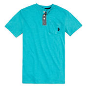U.S. Polo Assn. Short Sleeve Henley Shirt - Big Kid Boys