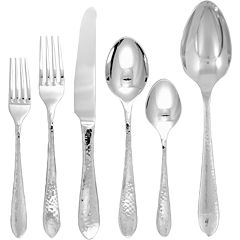 Ginkgo Starlight 42-pc. 18/10 Stainless Steel Hammered Flatware Set