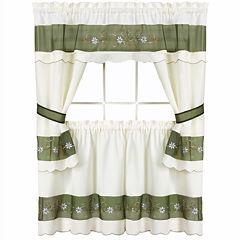 Berkshire Embellished Cottage Rod-Pocket Window Tiers & Tailored Topper Set