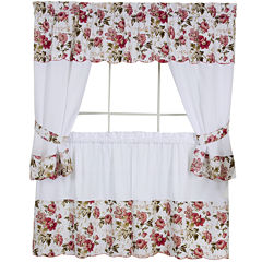 Wisteria Embellished Cottage Rod-Pocket Window Tiers & Tailored Topper Set