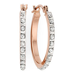 Diamond Fascination™ 14K Rose Gold Round Hoop Earrings