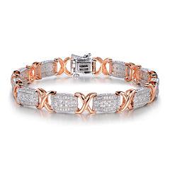 1 CT. T.W. Diamond Two-Tone X Link Bracelet