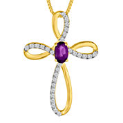 Genuine Amethyst & Lab-Created White Sapphire 14K Gold Over Silver Cross Pendant