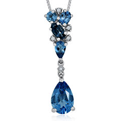 Genuine London and Swiss Blue Topaz with Diamond Accent Sterling Silver Pendant