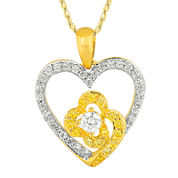 1/2 CT. T.W. White and Color-Enhanced Yellow Diamond Heart Pendant Necklace
