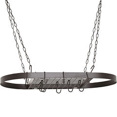 Old Dutch International® Matte Black Oval Pot Rack + 12 Hooks