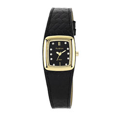 Armitron® Now® Womens Crystal-Accent Black Leather Strap Watch