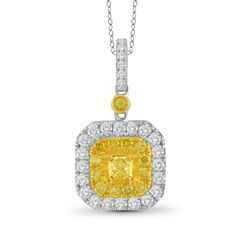Womens 1 CT. T.W. Yellow Diamond 14K Gold Pendant Necklace