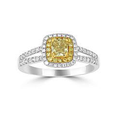Womens 1 CT. T.W. Yellow Diamond 14K Gold Halo Ring