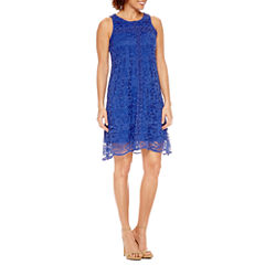 Donna Ricco Sleeveless Lace A-Line Dress-Petites