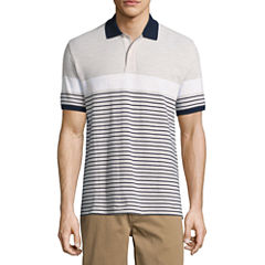 St. John's Bay Short Sleeve Stripe Knit Polo Shirt