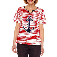 Alfred Dunner Lady Liberty Short Sleeve Anchor T-Shirt-Petites
